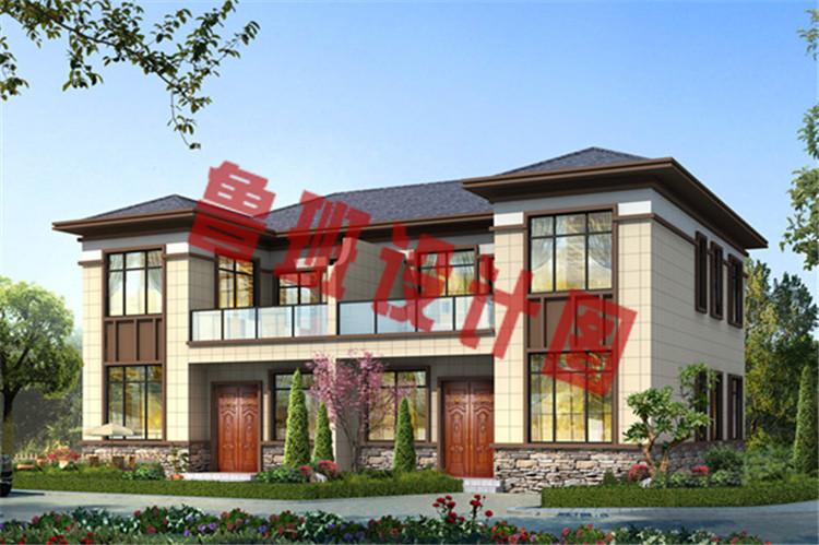 现代新中式二层双拼别墅设计效果图
