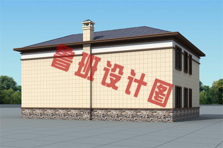 现代新中式二层双拼别墅设计侧面图