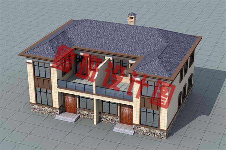 现代新中式二层双拼别墅设计鸟瞰图
