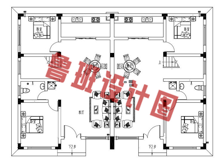 现代新中式二层双拼别墅设计一层户型图