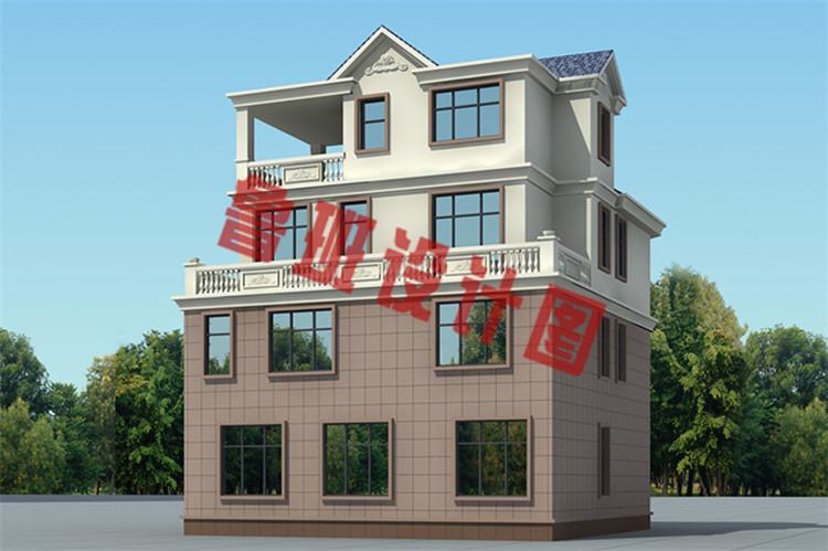 120平方米多露台四层楼房设计侧面图