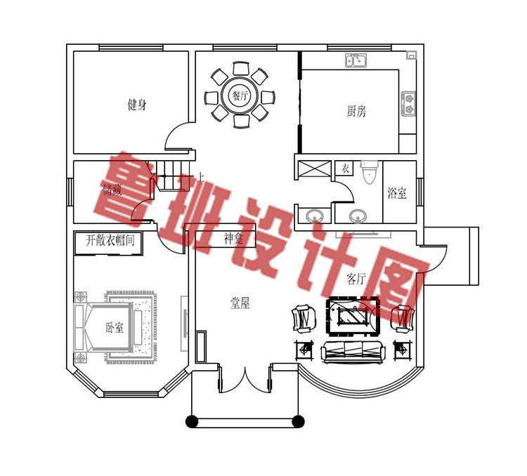120平方米多露台四层楼房设计一层户型图
