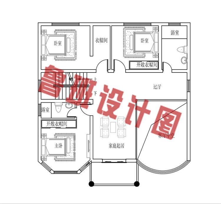 120平方米多露台四层楼房设计二层户型图