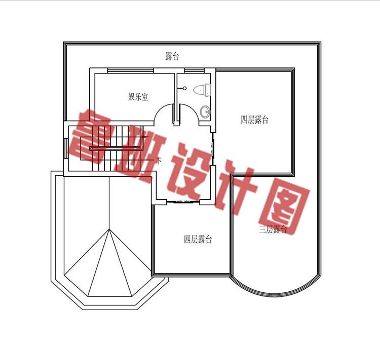 120平方米多露台四层楼房设计四层户型图