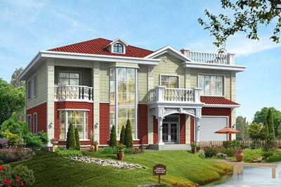 带堂屋带车库的二层别墅设计图,户型方正,经济实用
