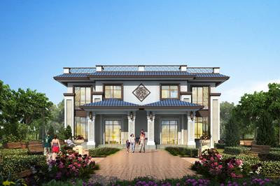 平屋顶新中式农村二层双拼别墅设计图纸,外观很有质感
