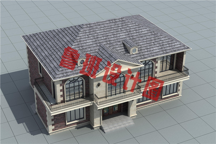带8间卧室的自建二层别墅设计鸟瞰图