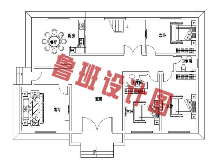 带8间卧室的自建二层别墅设计一层户型图