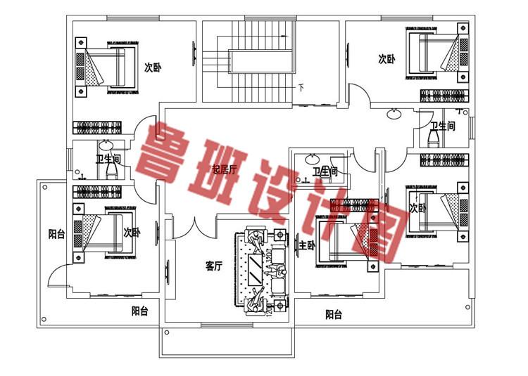 带8间卧室的自建二层别墅设计二层户型图