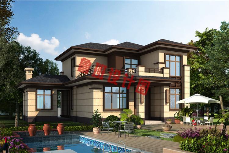 最新设计出炉二层带柴火房自建别墅设计效果图