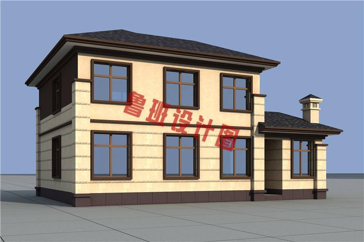 最新设计出炉二层带柴火房自建别墅设计图片