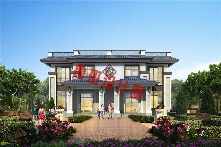 实用美观新中式农村二层双拼别墅设计效果图