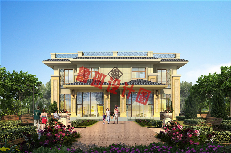 实用美观新中式农村二层双拼别墅设计外观图
