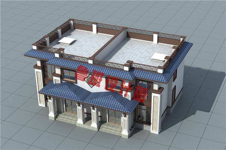实用美观新中式农村二层双拼别墅设计图片
