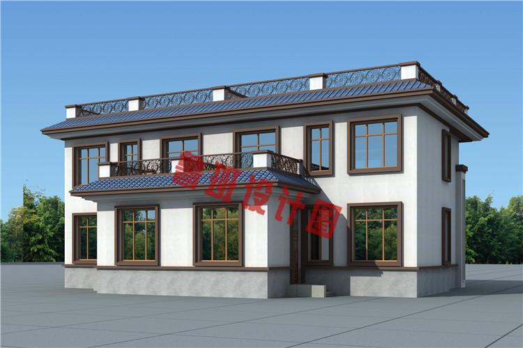 实用美观新中式农村二层双拼别墅设计背面图