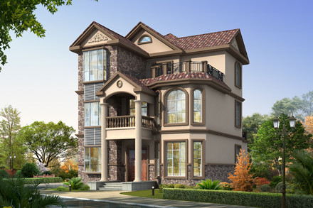 乡村法式复式别墅三层楼房设计图,外观非常漂