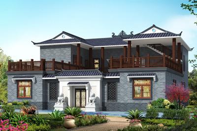 双露台四合院自建二层别墅设计图,四四方方的中式户型
