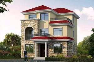 面宽9-10米农村自建别墅设计效果图,外观美观。