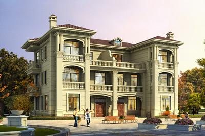豪华欧式三层兄弟双拼自建别墅户型方案图,结构工整