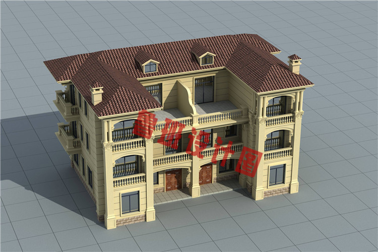 豪华欧式三层兄弟双拼自建别墅户型设计图片
