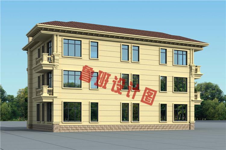 豪华欧式三层兄弟双拼自建别墅户型设计外观图