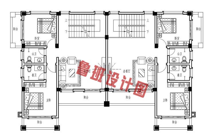 豪华欧式三层兄弟双拼自建别墅户型设计二层户型图