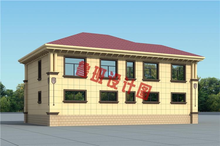 新农村16X11米二层自建别墅设计背面图