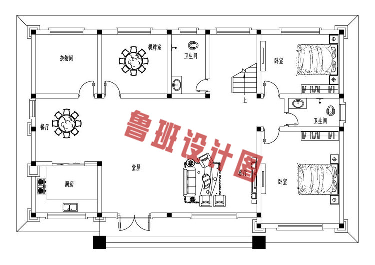 新农村16X11米二层自建别墅设计一层户型图
