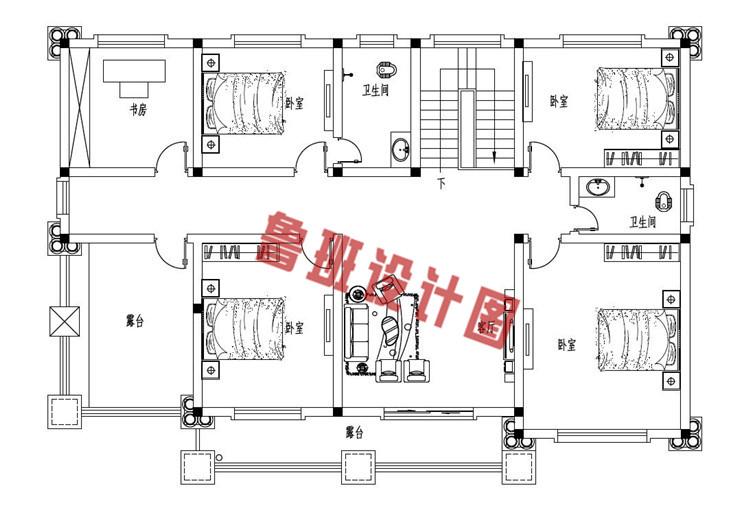 新农村16X11米二层自建别墅设计二层户型图