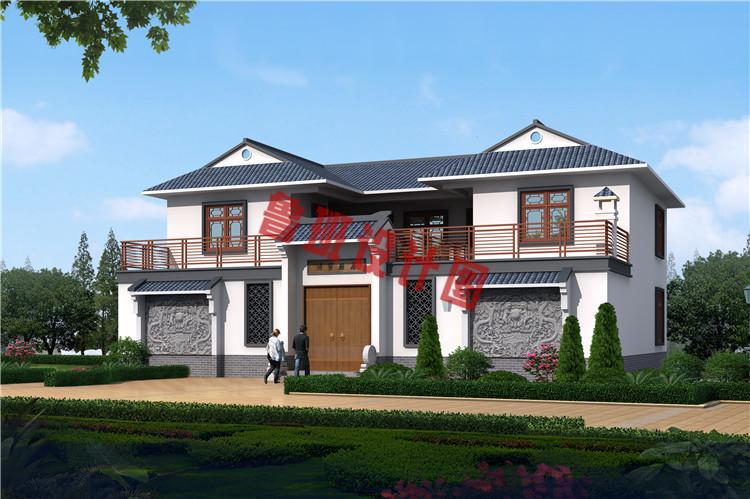 带庭院18x13米二层中式别墅设计效果图