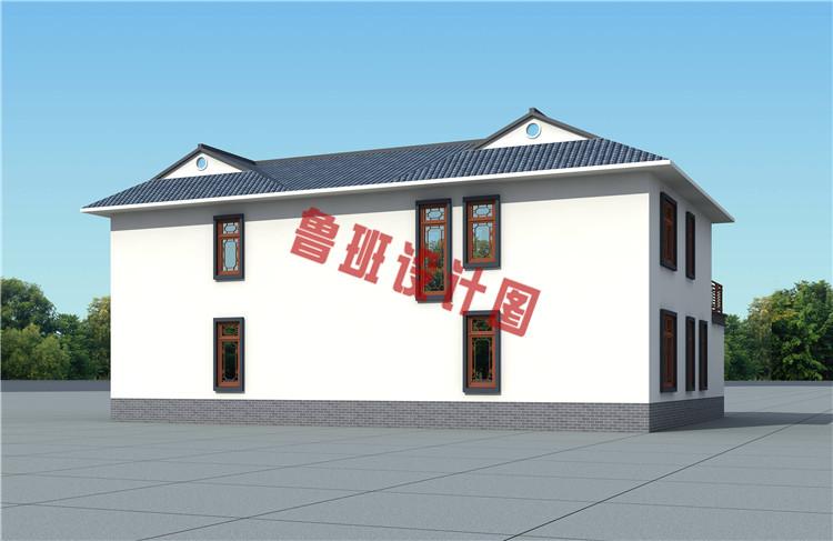 带庭院18x13米二层中式别墅设计侧面图
