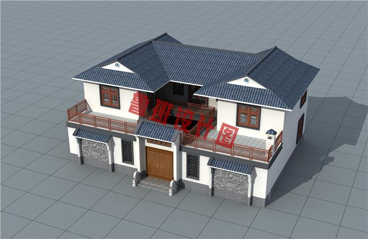 带庭院18x13米二层中式别墅设计鸟瞰图