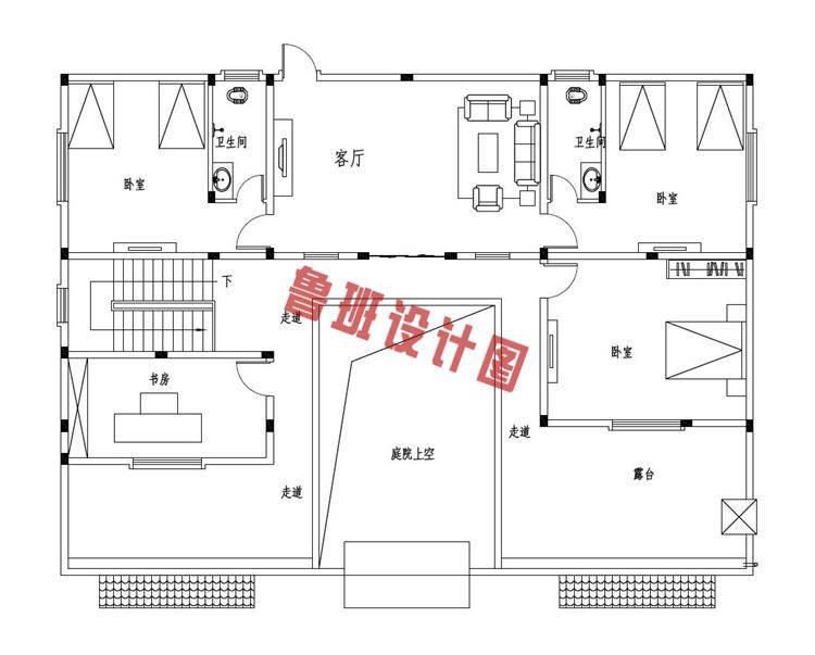 带庭院18x13米二层中式别墅设计二层户型图