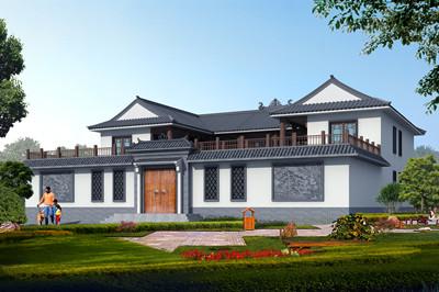 农村自建二层中式四合院别墅设计图,占地400平左右