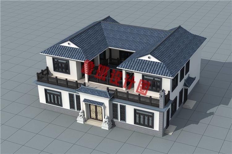 2019乡村二层四合院款式别墅设计外观图