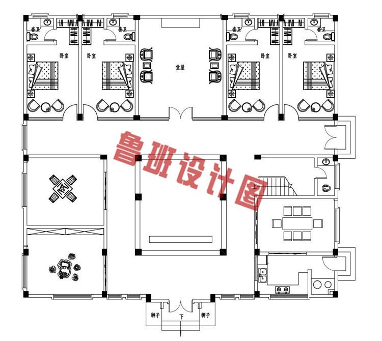 2019乡村二层四合院款式别墅设计一层户型图
