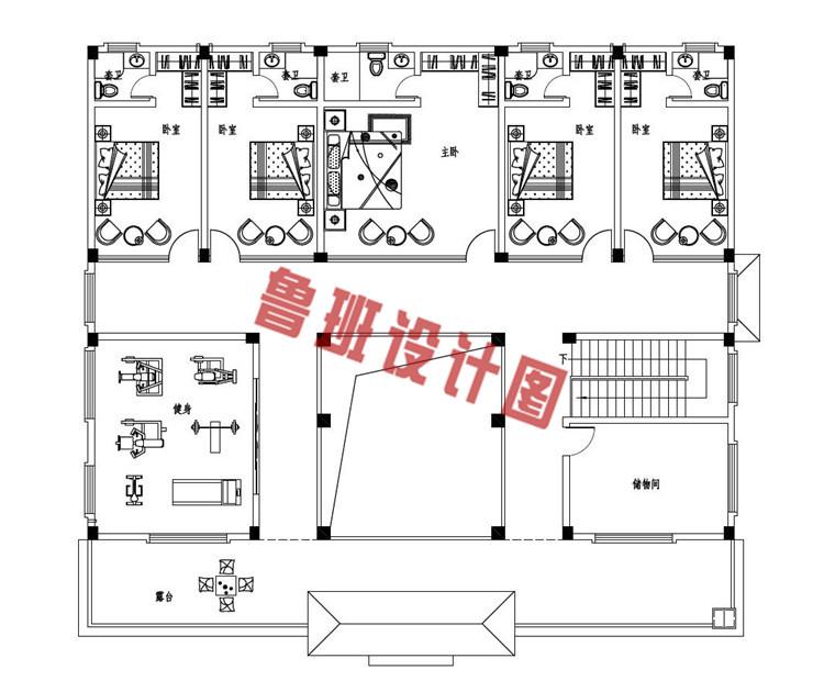 2019乡村二层四合院款式别墅设计二层户型图