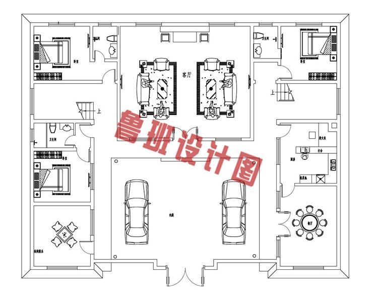 占地260平方米中式四合院二层设计一层户型图