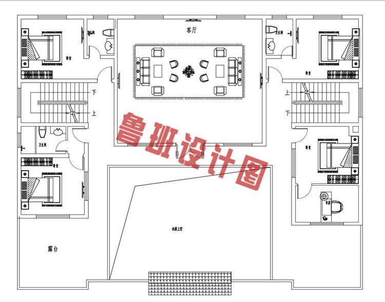 占地260平方米中式四合院二层设计二层户型图