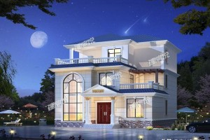 12X12米经典欧式别墅外观效果图,搭配十分美观!