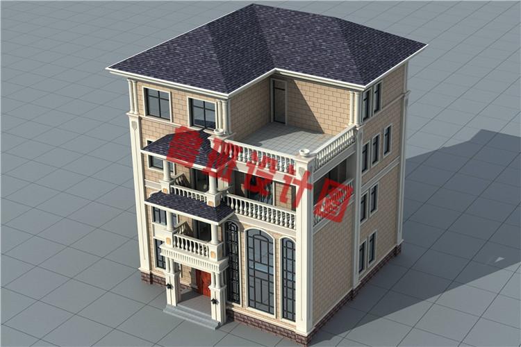 简单大气新款农村四层别墅自建房设计外观图