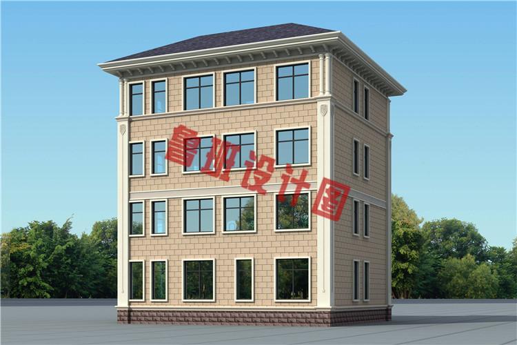 简单大气新款农村四层别墅自建房设计侧面图