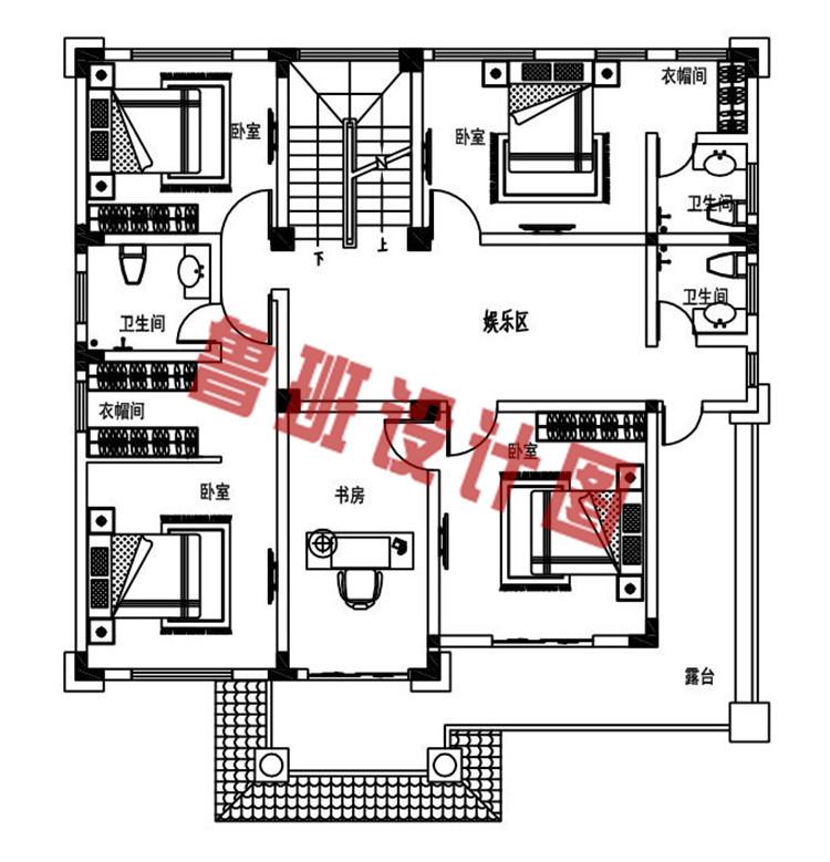 简单大气新款农村四层别墅自建房设计三层户型图