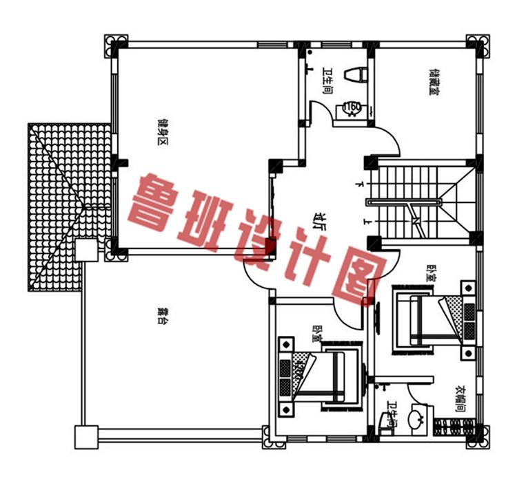 简单大气新款农村四层别墅自建房设计四层户型图