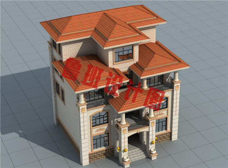 120平方米左右欧式自建别墅设计鸟瞰图