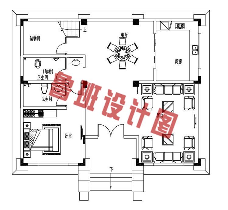 120平方米左右欧式自建别墅设计一层户型图