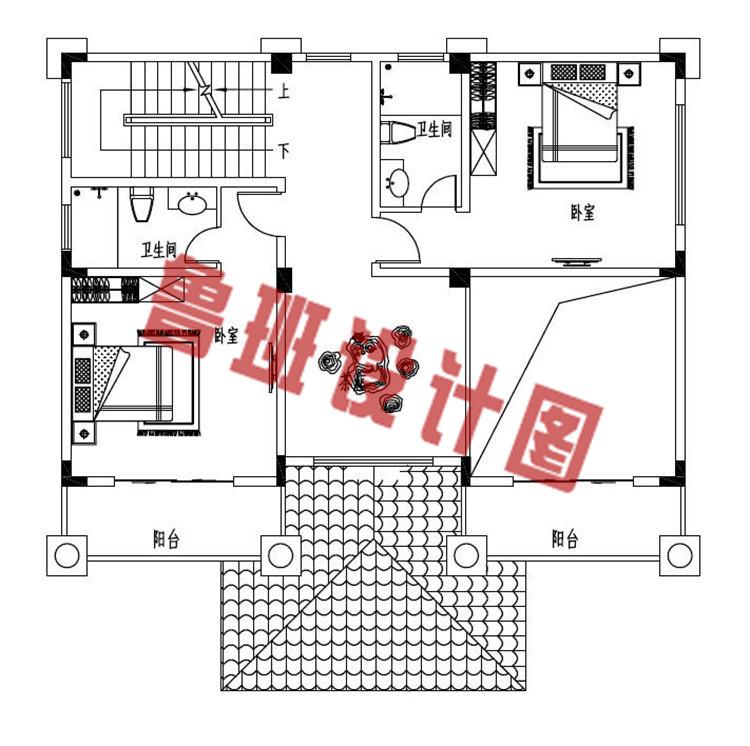 120平方米左右欧式自建别墅设计三层户型图