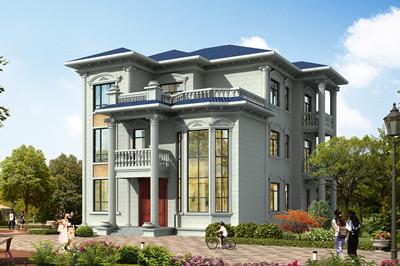 占地150平欧式带超大落地窗三层自建别墅设计图,大气
