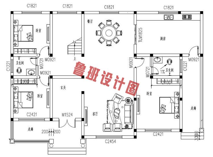 欧式二层乡村别墅设计一层户型图