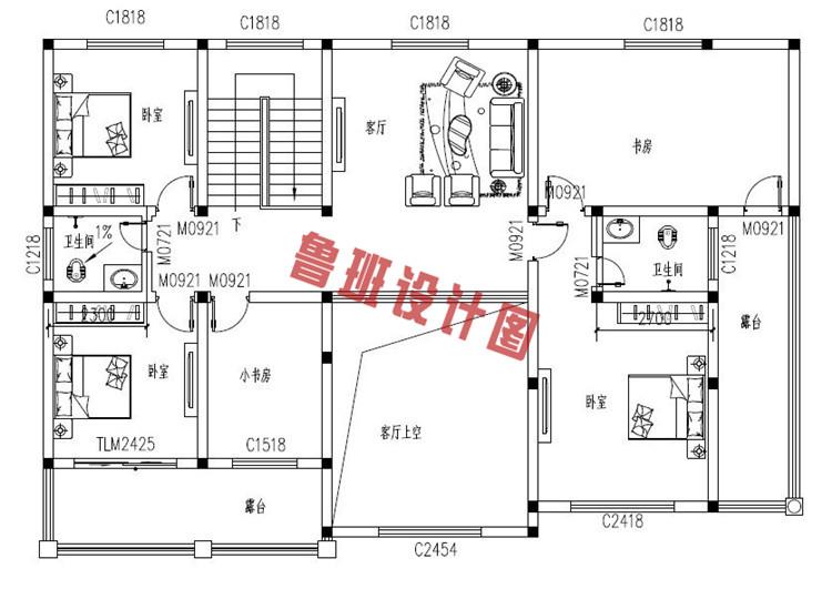 欧式二层乡村别墅设计二层户型图